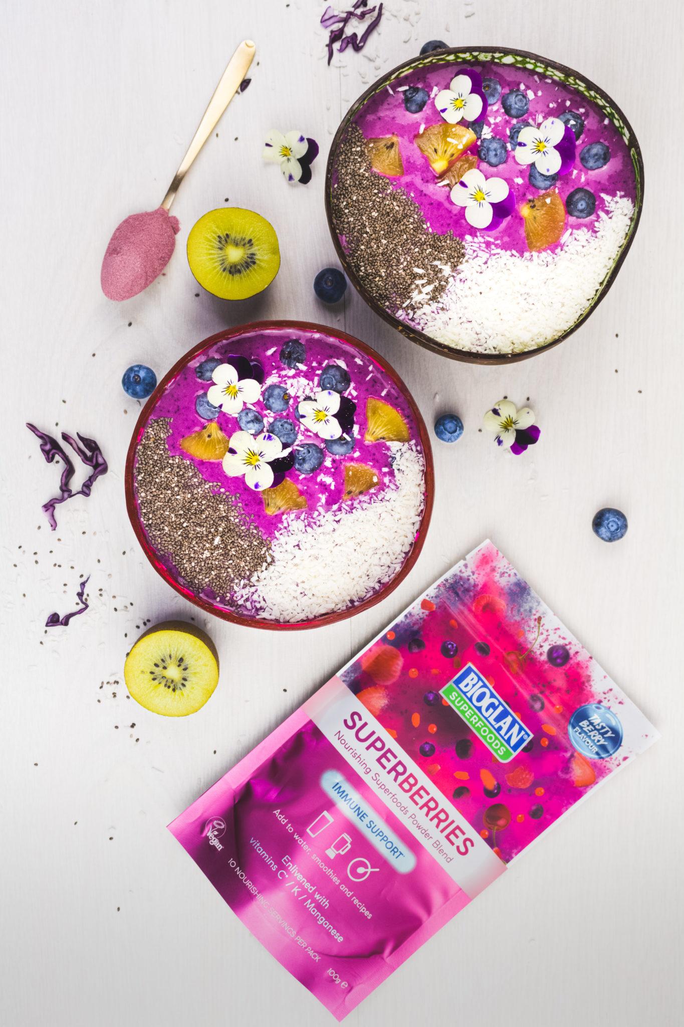 Purple smoothie bowls