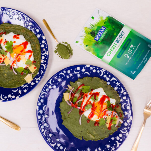 Green Boost brunch pancakes