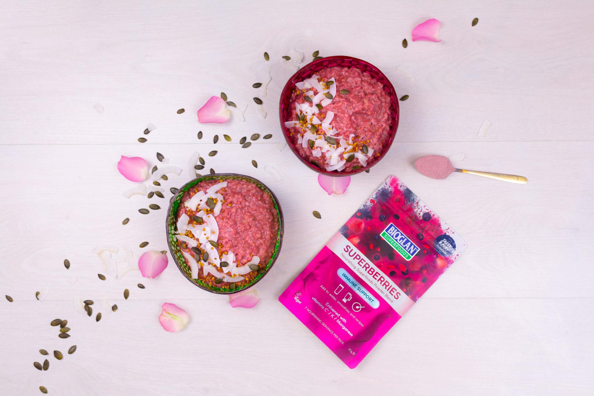 Pink porridge two bowls