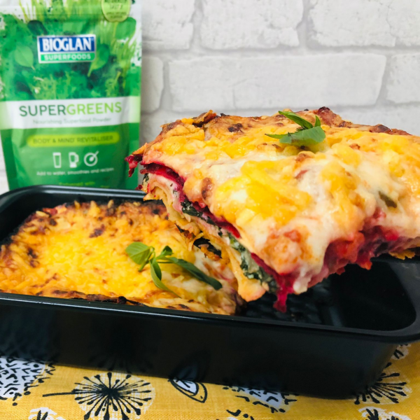 Rainbow lasagne with Supergreens